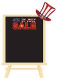 4th of July SALE sign board with Hat vector Illustration. Fourth of July Hat with Red White Blue Stripes and Gold Stars on retail sign board display for Royalty Free Stock Photo