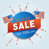 4th of July, sale sticker design with flags. 4th of July, sale sticker design with flags and 70% off offers Stock Photography