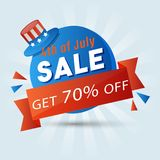 4th of July, sale sticker design with hat. 4th of July, sale sticker design with hat and 70% off offers Stock Images