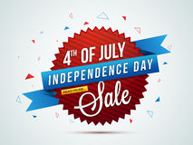 4th of July Sale Tag, Banner, Poster or Flyer. 4th of July Sale, Sale Paper Banner, Sale Poster, Sale Flyer, Sale Background, Creative illustration in American Royalty Free Stock Image