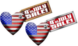 4th of July - Sale. US flag in the shape of heart with side label with phrase: 4th of July - Sale! - isolated on white background Stock Image