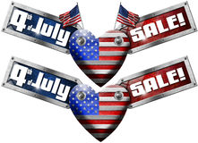 4th of July - Sale. US flag in the shape of heart with two side labels with phrase: 4th of July - Sale! - isolated on white background Royalty Free Stock Image