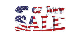 4th of July Sale with USA Flag Effect. 3d rendered 4th of July Sale with USA Flag effect. Isolated over white background with clipping path Royalty Free Stock Photography