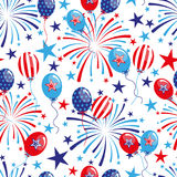 4th of July seamless pattern with balloons and fireworks. EPS royalty free illustration