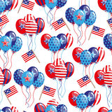 4th of July seamless pattern with balloons and flags. EPS Royalty Free Stock Photos