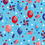 4th of July seamless pattern with balloons, flags and ice. Cream. EPS stock illustration