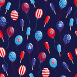 4th of July seamless pattern with balloons and ice-cream. EPS Stock Image