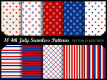 4th of july seamless pattern collection. 4th of july stars and stripes seamless pattern collection royalty free illustration