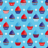 4th of July seamless pattern with cupcakes Stock Photo