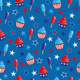 4th of July seamless pattern with cupcakes and ice-cream vector illustration
