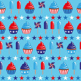 4th of July seamless pattern with cupcakes and ice-cream Stock Image