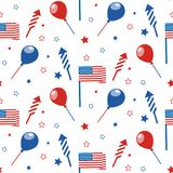 4th of July seamless pattern with festive attributes. USA Independence Day. Vector wallpaper royalty free illustration