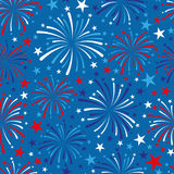 4th of July seamless pattern with fireworks. EPS Stock Photography