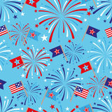 4th of July seamless pattern with fireworks and flags. EPS Stock Illustration