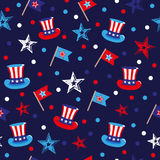 4th of July seamless pattern with hats and flags. EPS Royalty Free Stock Image