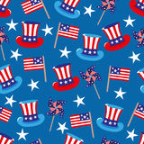 4th of July seamless pattern with hats and flags. EPS Stock Photo