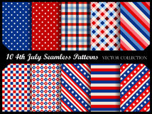 4 th july seamless patterns. Stars and stripes 4 th of july seamless pattern collection Stock Photos