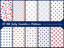4 th of july seamless. Stars and stripes 4th of july seamless  pattern  collection Stock Photo