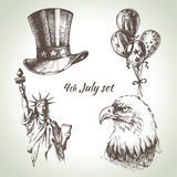 4th of July set. Hand drawn illustrations of. Independence Day of America royalty free illustration
