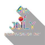 4th July with shadow on white background Stock Image