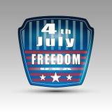 4th July shield symbol. Vector illustration of 4th of July shield symbol with USA and freedom words Stock Illustration