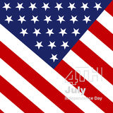 4th July silver logo US flag background Stock Photo