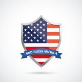 4th July Silver Protection Shield US Flag. US-Flag protection shield on the white background Stock Images