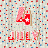 4th of July. Simple style greeting card. Holiday Independence Day July 4th. Bright inscription 4th of July. Vector illustration. 4th of July. Simple style royalty free illustration