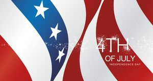 4th July spark firework USA ribbon landscape vector. Greeting card banner Stock Photography