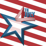 4th of july star background. 4th of July, American Independence Day, background in three dimensional number four design with blue five point star, white and red stock illustration
