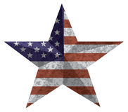 4th of July Star Oultine with USA Flag Texture vector Illustration. 4th of July Independence Day 3D Star Shape with USA American Flag Grunge Texture vector Royalty Free Stock Photography