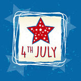 4th of July with star in square frame - USA American Independence Stock Photo