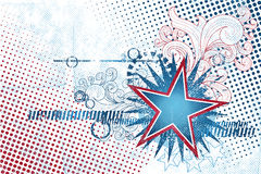 4th July Star template. Patriotic Independence Day background with swirls and stars in grunge style royalty free illustration