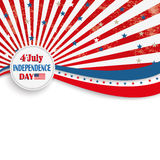 4th July Stars Stripes Flyer. Independence day retro flyer with white emblem royalty free illustration