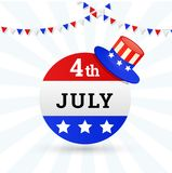 4th of July, sticker design with hat. 4th of July, sticker design with hat and bunting flags Stock Photo