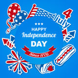 4th july stickers bacground. National American symbolics july. Vector stickers background royalty free illustration