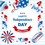 4th july stickers background. National American symbolics july. Vector stickers background stock illustration