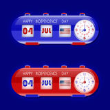 4th of July with table flap clocks and number counter Royalty Free Stock Photography