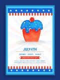 4th of July Template, Banner with Cupcake. 4th of July, Independence Day celebration Template, Banner or Flyer design with illustration of Sweet Cupcake in stock illustration
