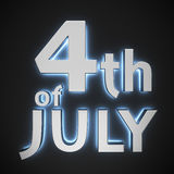 4th of July. Text 4th of July with backlight effect on the black background royalty free illustration