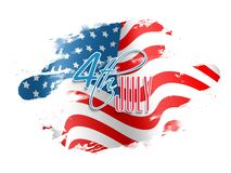4th of July celebration background. 4th of July Text Design on abstract American Flag colors background for Independence Day concept vector illustration