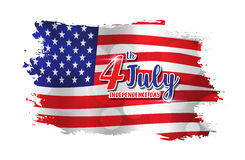 4th of July text design on abstract American Flag style backgrou Stock Photos