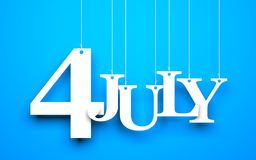 4th july - text hanging on the string Royalty Free Stock Image