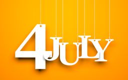 4th july - text hanging on the string. Orange background with hanging letters which make up the word - 4th july vector illustration