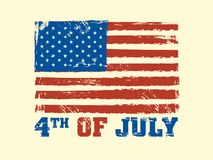 4th of July text with USA Flag. 4th of July text with USA Flag on beige background Royalty Free Illustration