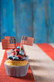 4th of July theme. Freshly baked cupcake with a 4th of July theme Royalty Free Stock Photography
