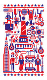 4th of July - U.S.A Independence Day. Fourth of July - Independence Day in New York City. Red, blue and white vector illustration Stock Photo