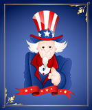4th of July Uncle Sam Card. Old Cartoon Uncle Sam Pointing Finger in 4th of July Greeting Card Stock Photos