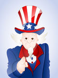 4th of July Uncle Sam. Conceptual Drawing Art of Cartoon Old Uncle Sam Pointing Finger Vector Illustration vector illustration