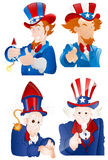 4th of July Uncle Sam Portraits. Conceptual Adult Cartoon Uncle Sam Characters Poses, Gestures and Expressions Vector Illustration Stock Image
